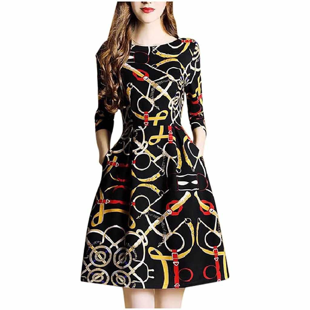 Catena di ferro di Stampa Vintage Retro Abito Delle Donne di Modo del Vestito Elegante O-Collo di Lunghezza Del Ginocchio Mezza Manica Vestito Estivo Femme abiti
