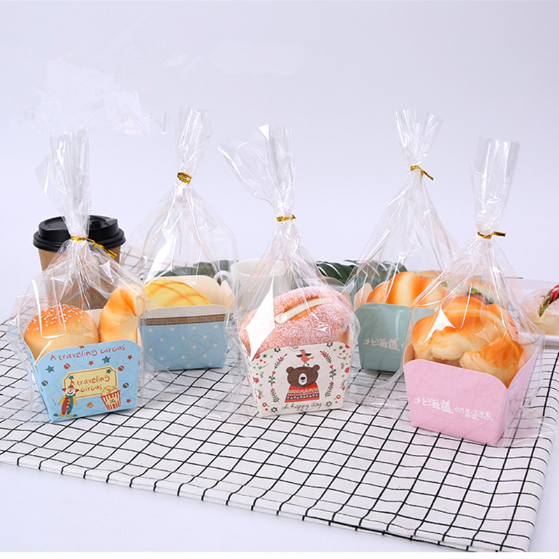 100pcs Creative disposable dessert cup birthday party favor cake cup small basking bread paper cups with transparent plastic bag