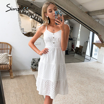 Simplee Casual white women summer beach dress Bow-knot spaghetti embroidery female midi dress backless holiday dress vestidos 2