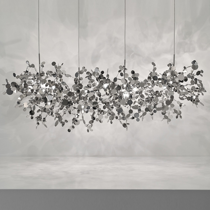 terzani argent lighting hand made stainless steel leaf chandelier lamp for living room bedroom home deor lighting