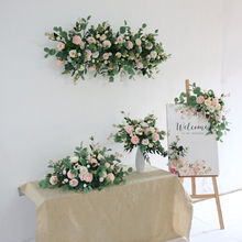 Flone Artificial Flowers Arrangement Wedding Welcome Sign Centerpiece Table Runners Pink Backdrop Floral Stage Decoration