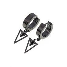 1 Pair Triangle Hoop Earrings Spike Dangle Earrings Unisex Ear Piercing Jewelry Stainless Steel Triangle Drop Earrings 1 pair 35cm stainless steel triangle bracket zhj 3520