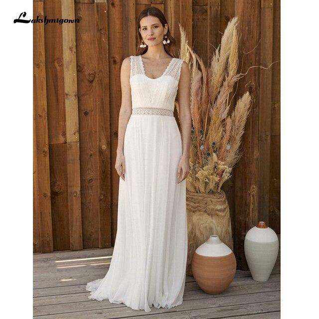 Bohemian Hippie Style Wedding Dresses 2021 Beach A-line Wedding Dress Bridal Gowns Backless White Lace Chiffon Boho white dress 4