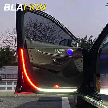 Otwieranie drzwi samochodu światła ostrzegawcze LED witamy światło LED stroboskop bezpieczeństwa lampka sygnalizacyjna 120cm wodoodporne Auto dekoracyjne światła otoczenia tanie i dobre opinie BLALION CN (pochodzenie) Światło na powitanie Door warning lights 12 v Silicone LED LED Car Door Lights White and Red