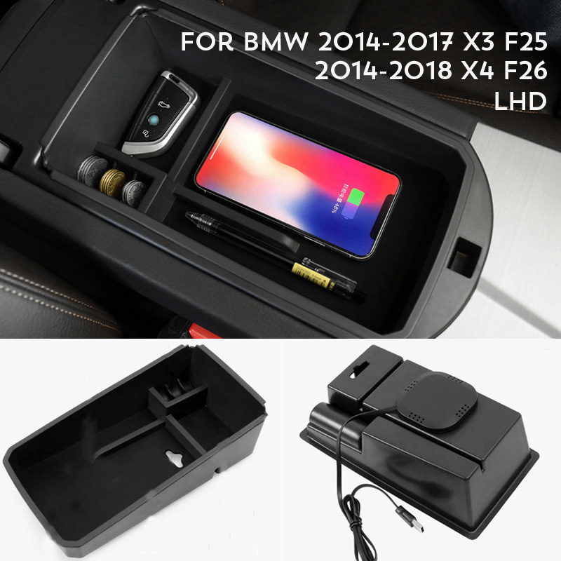 For BMW X3 F25 2014-2017 / BMW X4 F26 2014-2018 Mobile Phone Wireless Charging Central Armrest Storage Box