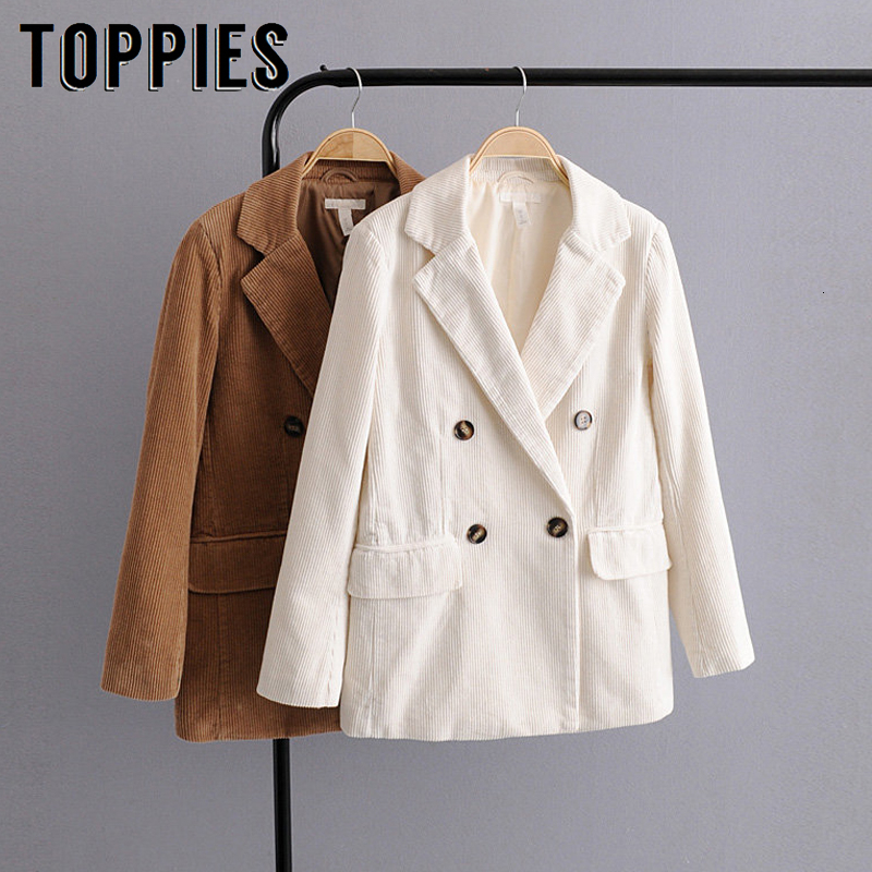 White Khaki Corduroy Suit Jacket 2019 Winter Double Breasted Coat Lady Office Blazer Europe Women Clothes