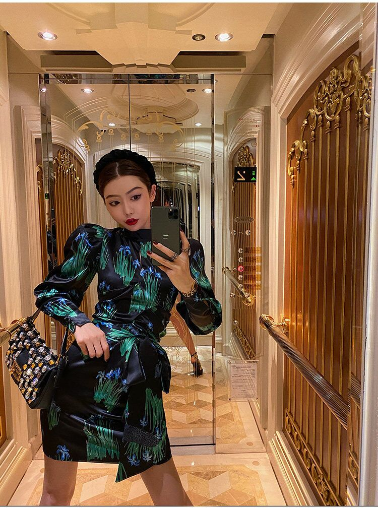 2020 New Autumn Fashion Women Dress  Free Shipping Holiday Elegant Print Dress