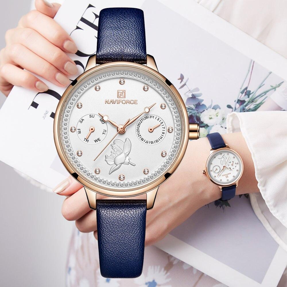 NAVIFORCE Women Fashion Analog Quartz Watch Waterproof Top Brand Luxury Genuine Leather Band Wristwatch Creative Ladies Watches