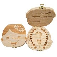 Storage-Box Collect Tooth-Organizer Gifts Wooden Spanish Milk-Teeth Baby Kids English