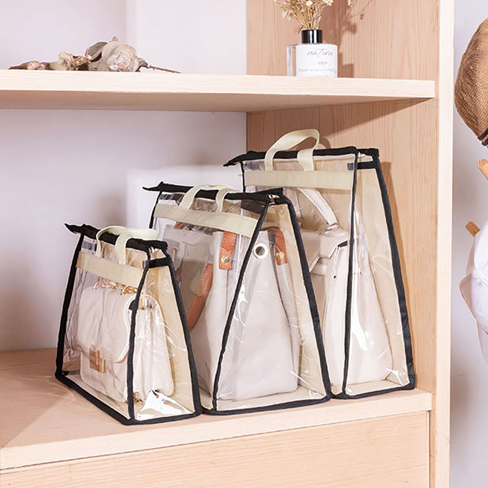 Handbag Storage Organizer Dust Cover Bag Transparent Anti-dust Purse Storage Bag for Hanging Closet with Zipper and Handle