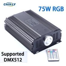 Controlador de motor de fibra óptica LED RGB DMX 75W + mando a distancia RF de 28key para todo tipo de fibra óptica