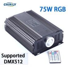 DMX 75W RGB LED Fiber optik motor sürücü + 28key RF uzaktan kumanda her türlü fiber optik