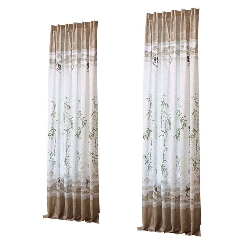 New-Curtains Living Room Modern Design Half Blackout Impression Curtains Bedroom Blinds 200x100cm (bamboo)