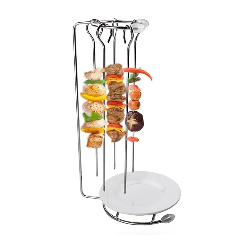 Portable stainless steel bbq skewers needle with rack holder