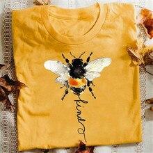 Harajuku tshirt feminino abelha tipo gráfico camiseta kawaii dos desenhos animados roupas femininas primavera verão streetwear estético impressão camisa adolescente