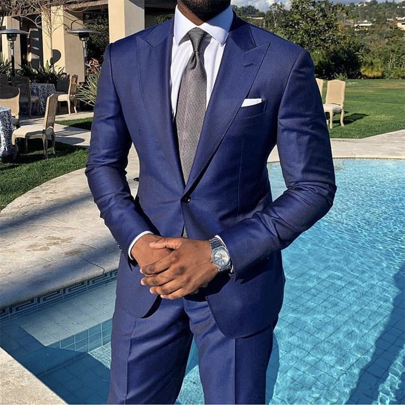 Dark Blue Mens Suits Polyester 2 Piece( Jacket+Pants) One Button Costume Homme Classic Fit Peaked Lapel Prom Suit