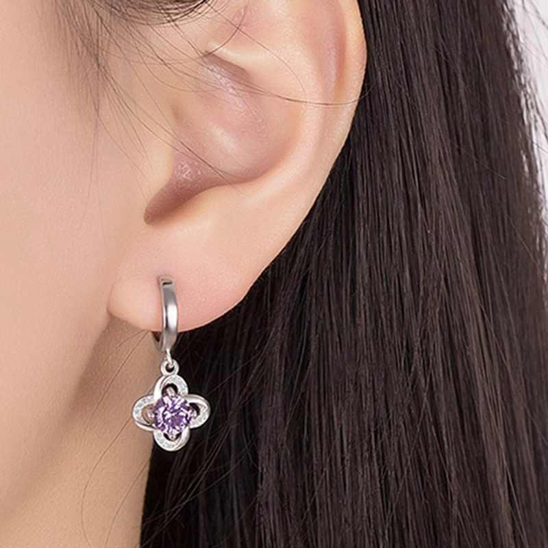 New Korean Style Women's Earrings Simple Fashion Lucky Leaf Grass Everlasting Flower Earrings Purple AAA Zircon Jewelry