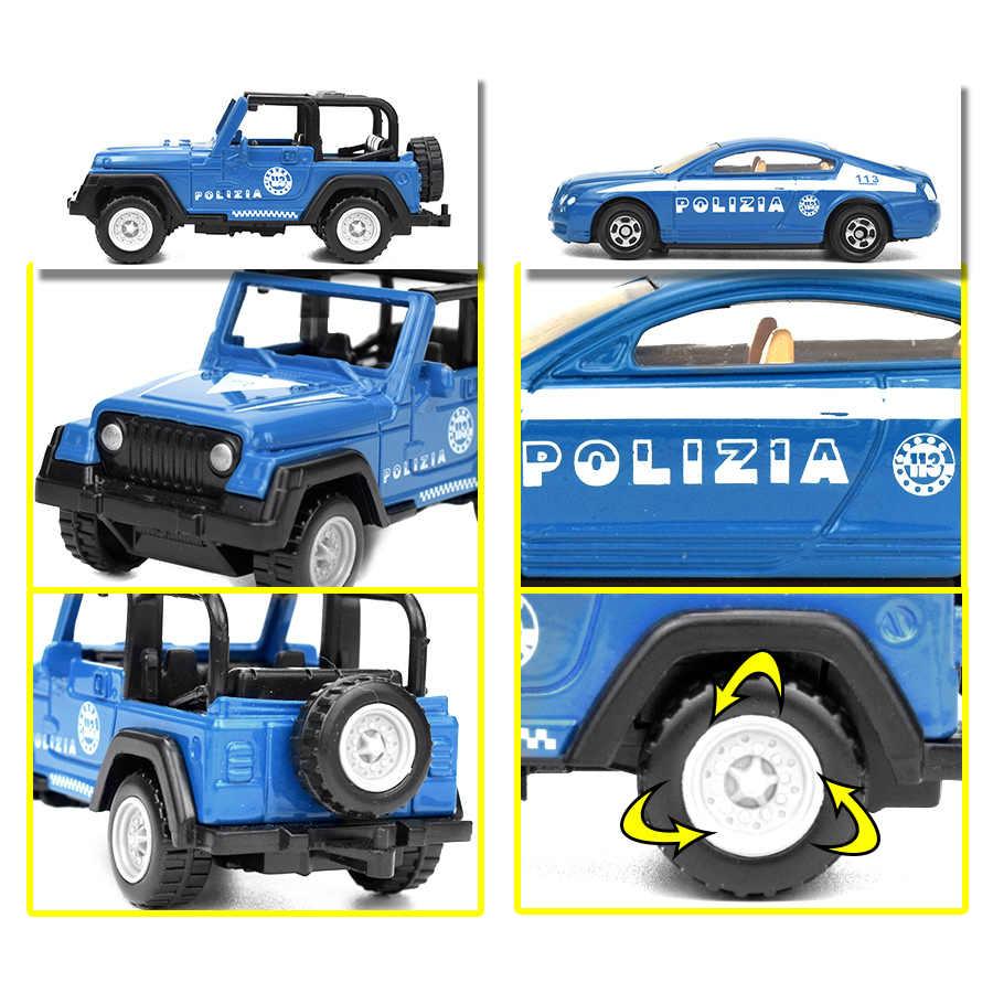 Mainan Anak 5 Gaya Diecast Kendaraan Polisi Mini Paduan Model Mobil Mainan untuk Anak-anak Polisi Meluncur Mobil Truk Mainan Klasik hadiah untuk Anak Laki-laki
