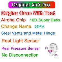 Airx pro tws sem fio bluetooth fone de ouvido com texto fones 10d super bass pk i99999 plus i90000 max i900000 max