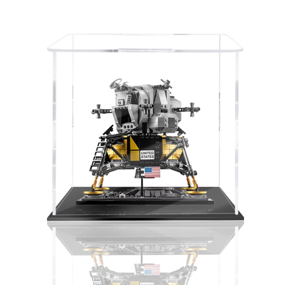 caixa de exibicao dustproof acrilica do bloco de construcao para o modulo lunar 10266 de apollo