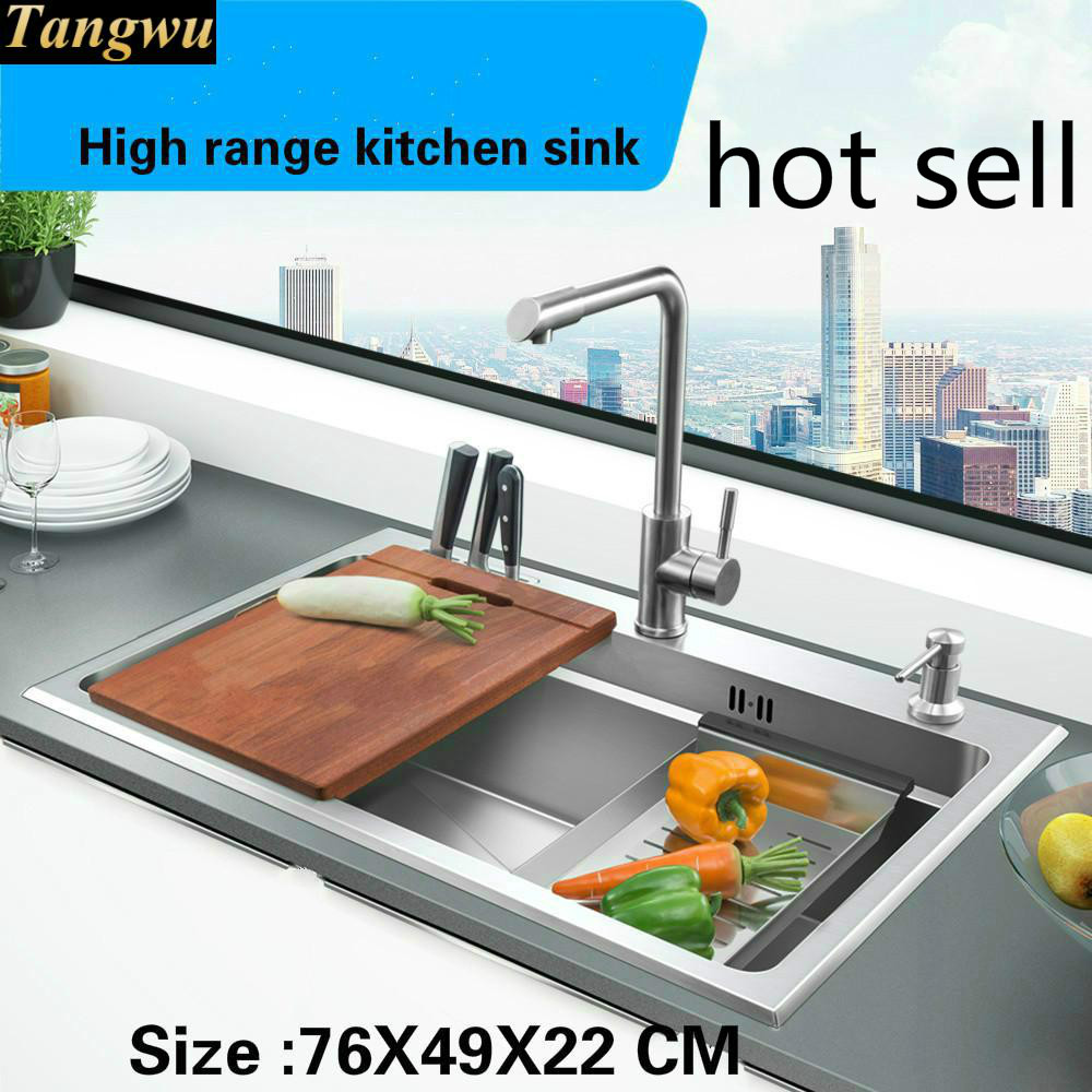 A Tangwu Hand Made Of High Quality Single Slot Luxury Kitchen Sink Food-grade 304 Stainless Steel 76x49x22 Cm