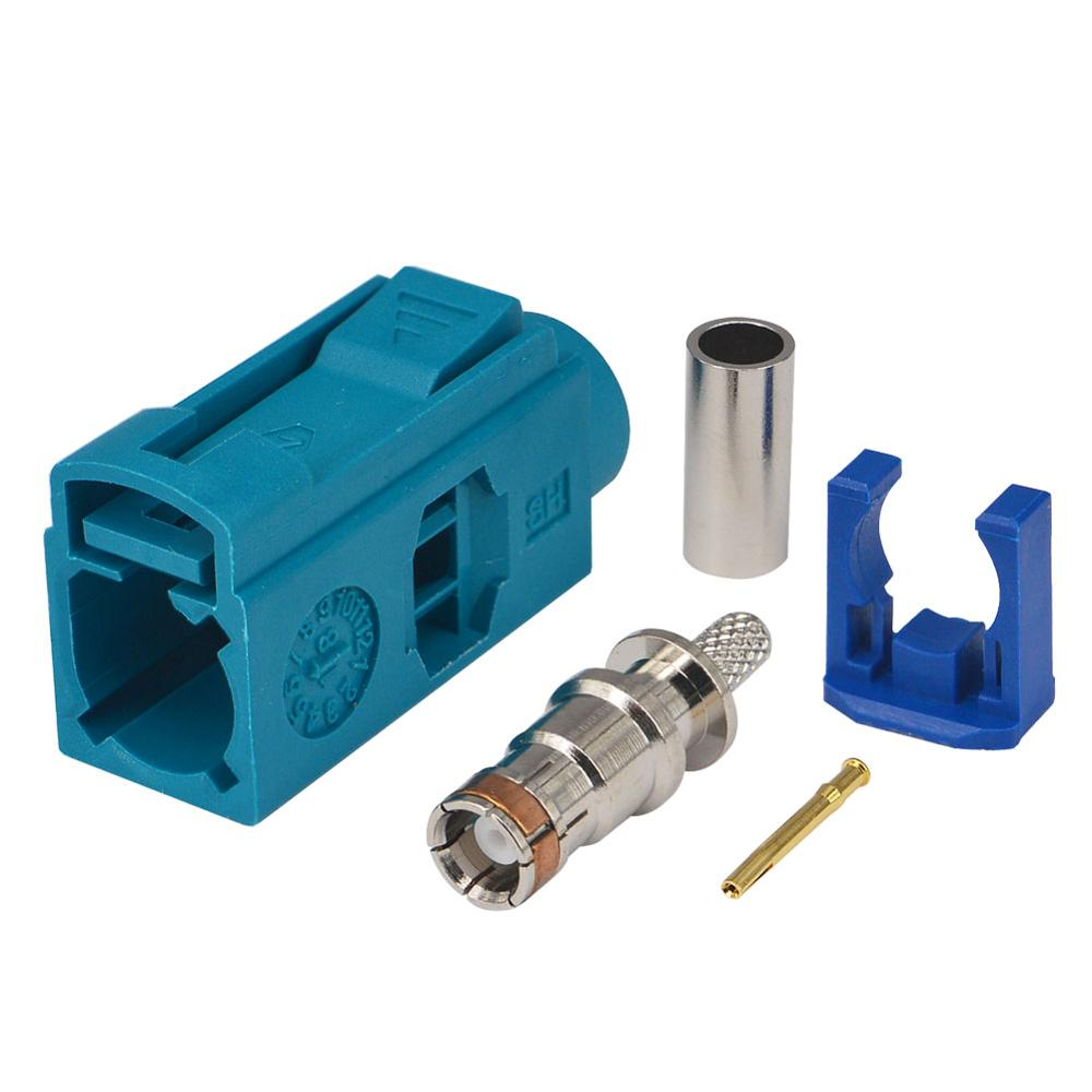 <font><b>100</b></font> PCS Fakra Z Waterblue/5021 Jack Female Connector Neutral Coding Crimp for RF Coaxial Cable RG316 RG174 LMR100 <font><b>GPS</b></font> DAB+Radio image