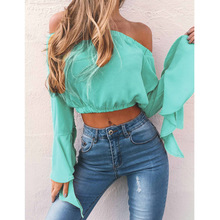 цена на off-the-shoulder tube top flare sleeves sexy shirt blouse women fashion chiffon blouse