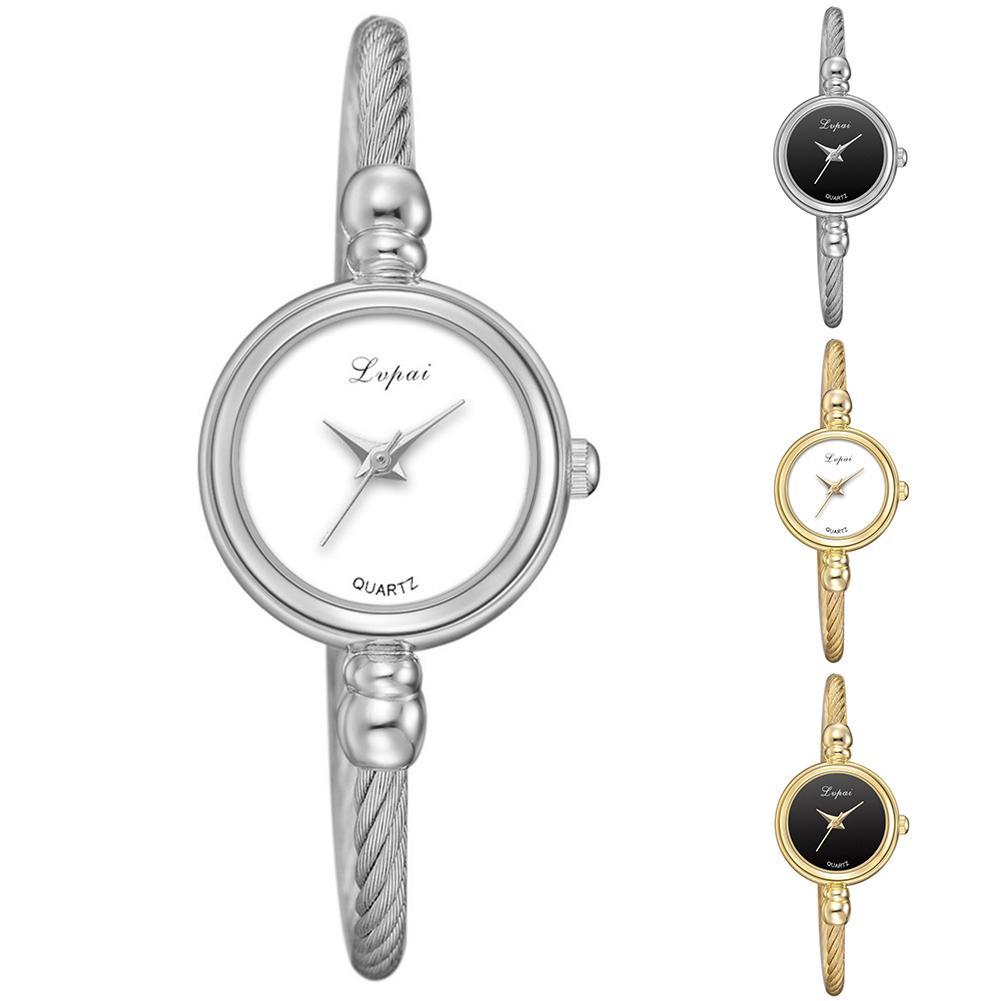 Fashion Lady Round Dial Thin Strap Opening Bangle Bracelet Quartz Wrist Watch Men's And Women's Fashion Quartz Watches