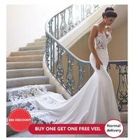 LORIE Mermaid Wedding Dress Sleeves 2019 Vestidos de novia Vintage Lace Sweetheart Neck Bridal Gown Backless Wedding Gowns