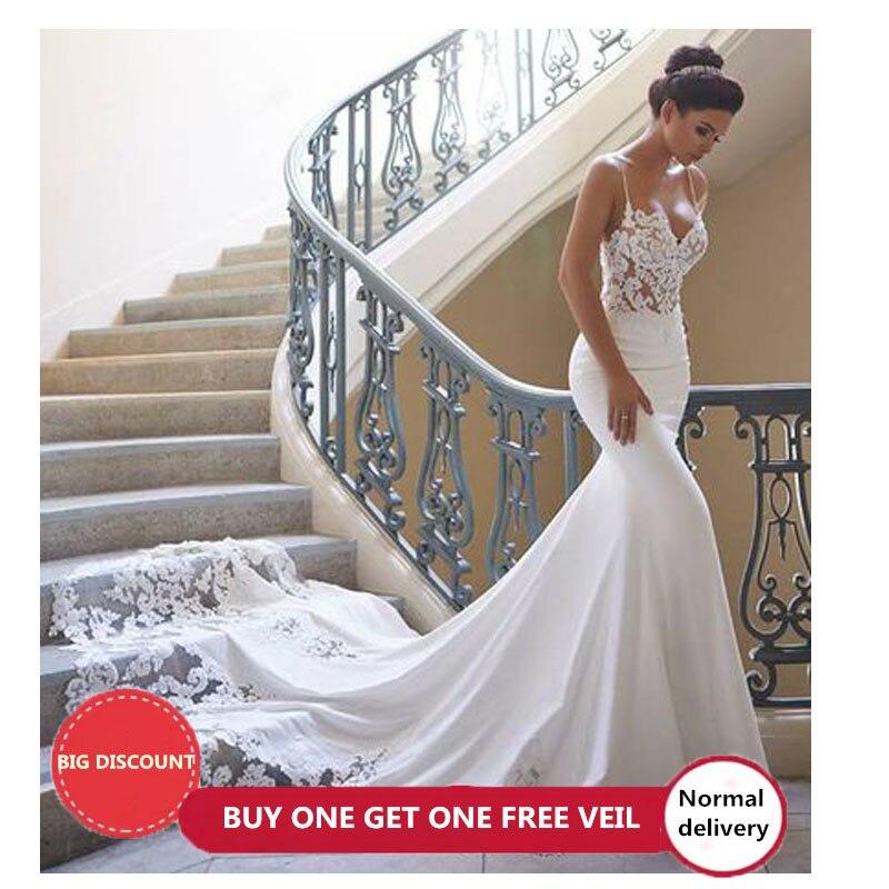 LORIE sirène robe de mariée manches 2019 Vestidos de novia Vintage dentelle chérie cou robe de mariée dos nu robes de mariée