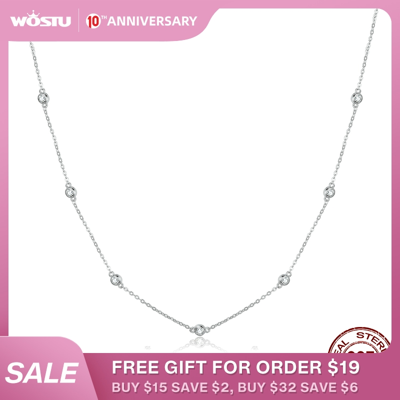 WOSTU Genuine 925 Sterling Silver Bright Zircon Simple Necklace Long Chain Link For Women Wedding Exquisite Jewelry Gift CQN393