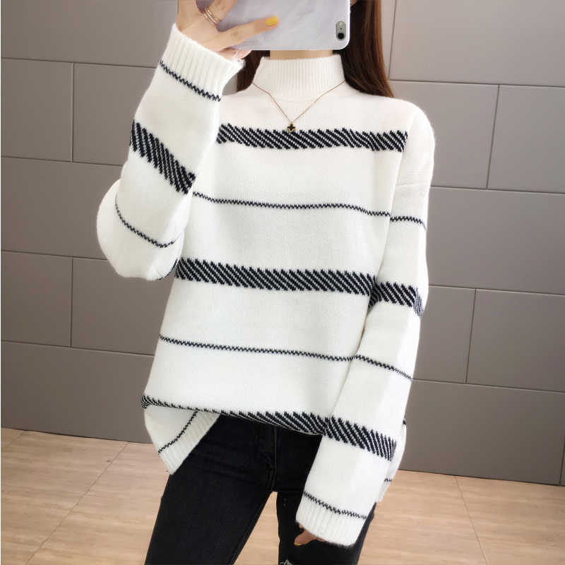 Warm Stripe Long Sleeve Pull Femme Knitted Sweater Pullover Fashion New 2019 Loose Sueter Mujer   Female Jumper Women Winter