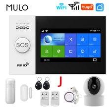 Mulo wi fi gsm sistema de alarme segurança sem fio do assaltante 433mhz casa inteligente tuya app controle com câmera ip detector movimento