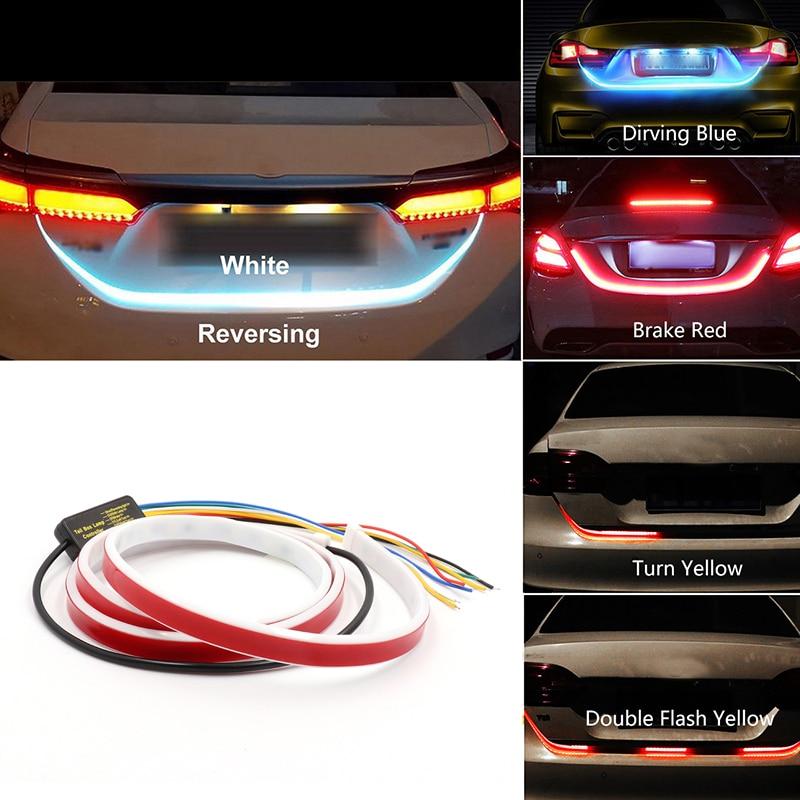 Niscarda 4 modo traseira do carro led tronco adicional parar luz tira sinal de volta auto flexível bagageira warnning lâmpada
