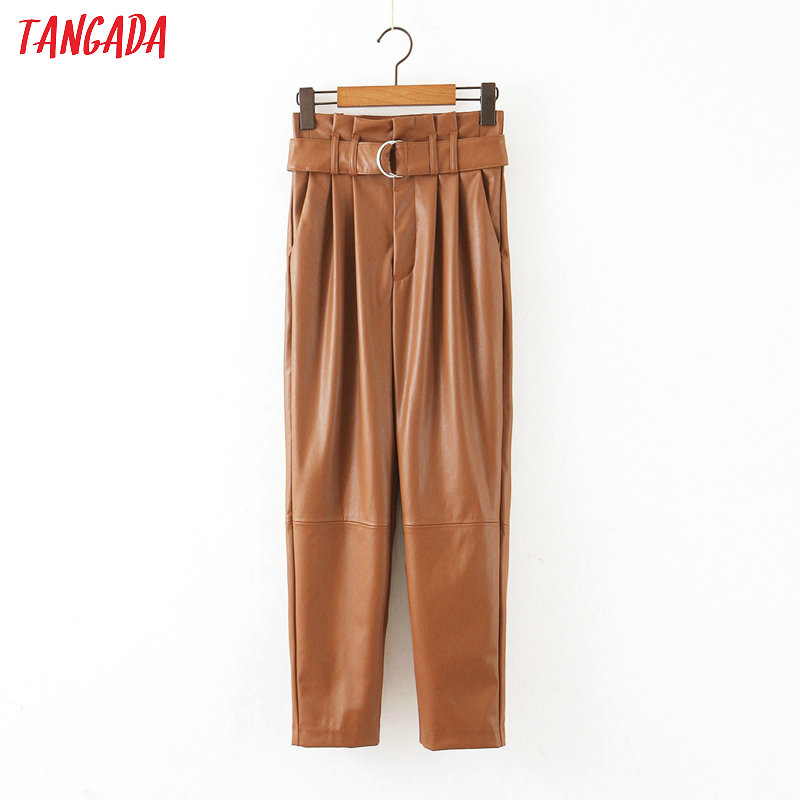 Tangada Women Fleece Brown Faux Leather Suit Pants Zipper High Waist Vintage Casual Ladies Pu Leather Trousers HY128