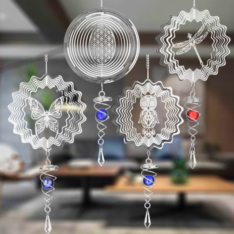 1.5V D Size Silent Stereo Rotating Wind Chime Spinner Motor Hanging Ornament Decor Mirror 46x14.8cm Stainless Steel