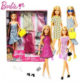 Original Party Barbie Gift Box Set Clothes Shoes Bags Dress Up dress Party Girl Play House 1