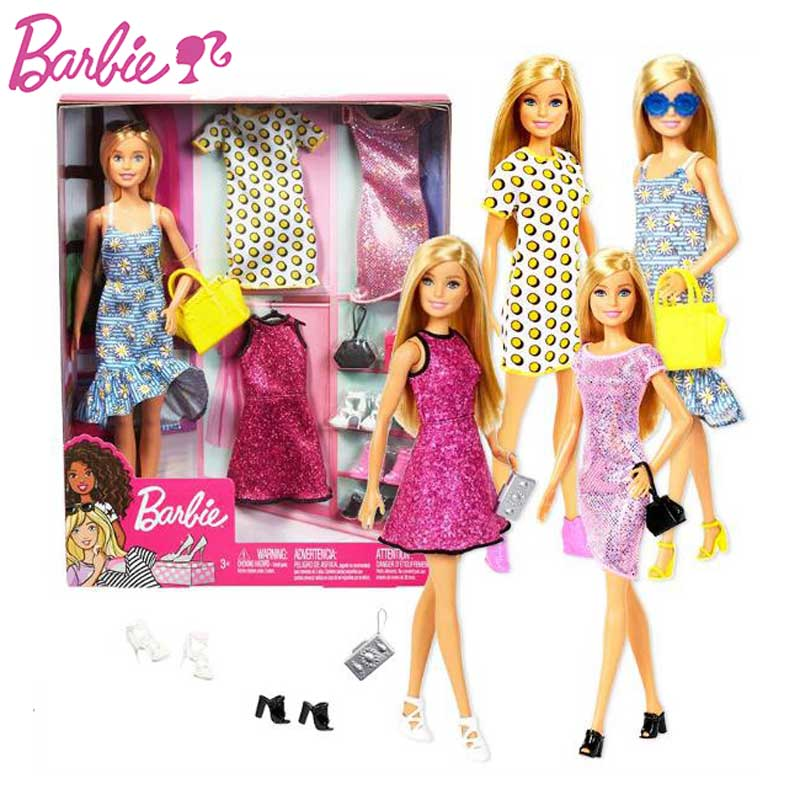 Festa original barbie caixa de presente conjunto roupas sapatos sacos vestir-se vestido festa menina jogar casa brinquedo presente do feriado aniversário gdj40