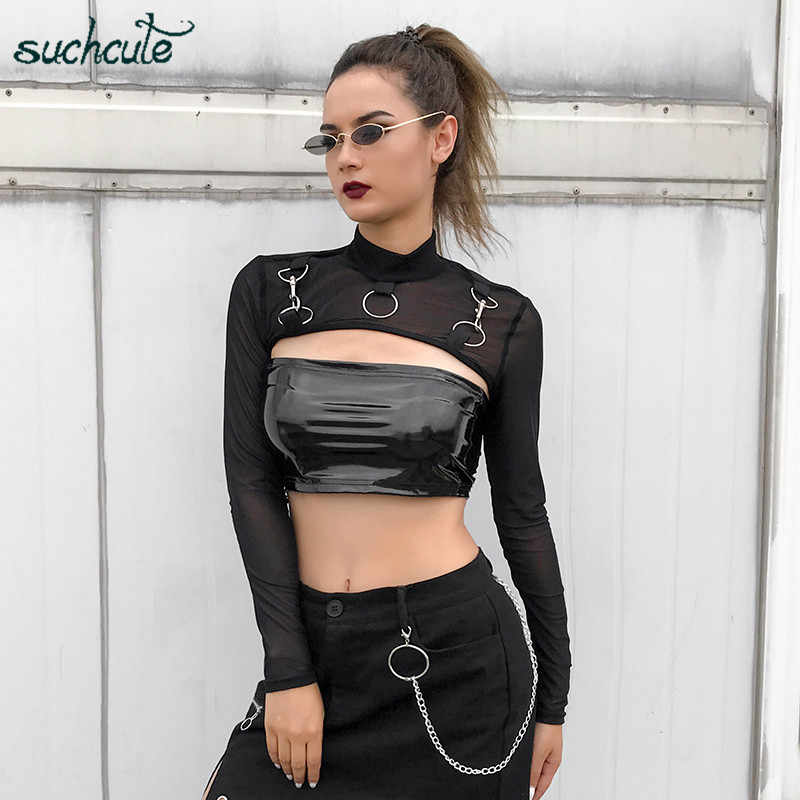 SUCHCUTE Black Smocked Top Metal Female T-Shirt Modis Longslive Streetwear Shirts Modis Gothic Autumn 2019 Meah Tops For Women