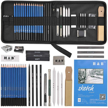 35PCS Drawing Pencils Artists Sketching Art set with Sketch Paper Zipper Case includes Graphite Pastel Charcoal
