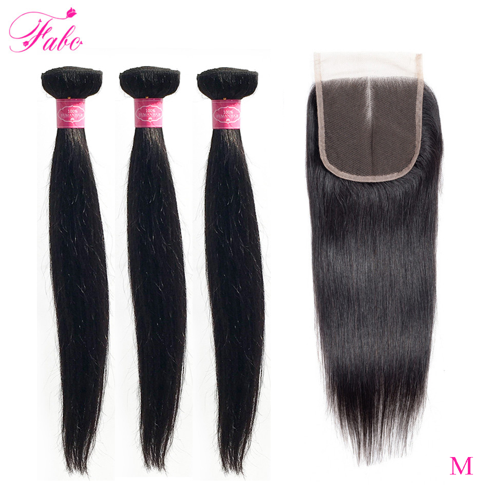 Fabc Hair Peruvian Straight Hair Bundles With Lace Closure Middle Part 3 Bundles With Closure Natural Black Human Hair Non-remy