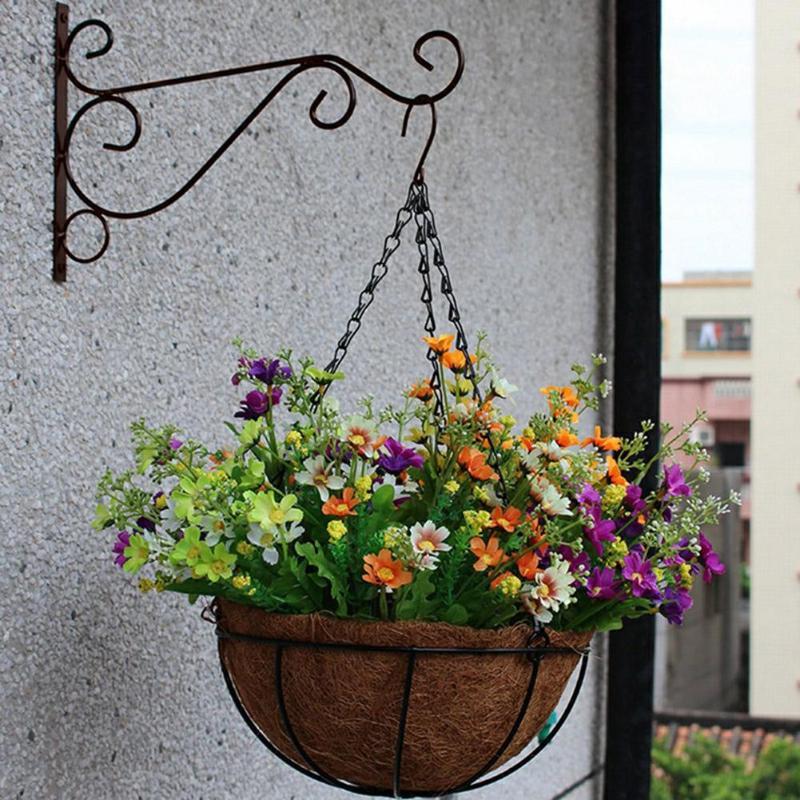 European Style Balcony Plant Flower Pot Wrought Iron Hooks Holder Wall-Mounted Hanging Basket Bracket Home Garden Decoration New