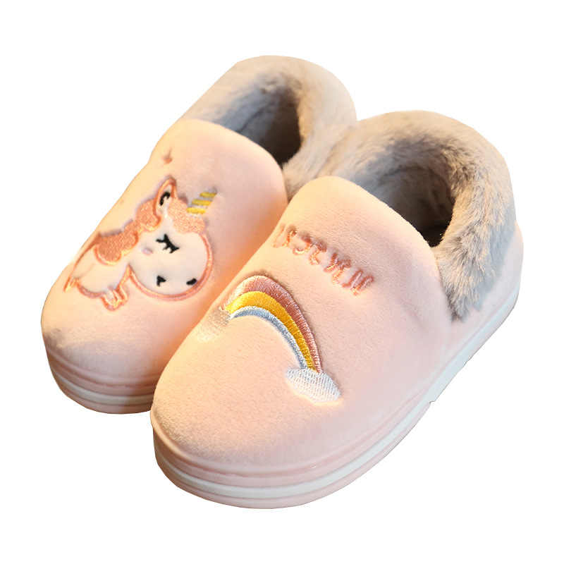 Kids Slippers Cartoon Unicorn Home Shoes For Children Soft Bottom Winter Indoor Bedroom Slipper Warm Velvet Shoes