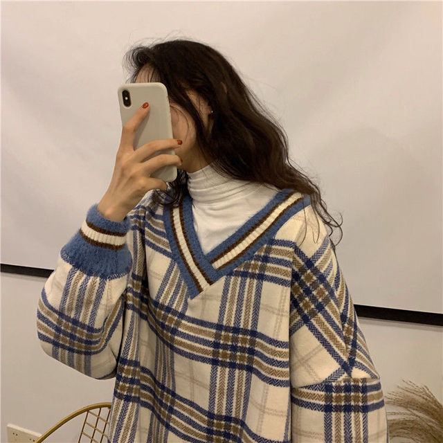 Women plaid hoodies pring winter new style slim fit casual hooded  sweatshirt pink and blue fashion Plaid Pirnted Cotton Hooded 6
