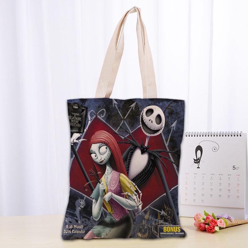 Nightmare Before Christmas Canvas Tote Bag Fashion Durable Women Student Cotton Linen Handbag Printed Shopping Bags Custom Logo