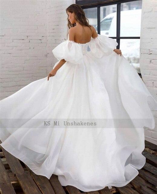 Princess White Wedding Dress Puff Short Sleeve Plus Size Bridal Dresses Lace up Back A Line Cheap Wedding Gowns Vestido de Noiva 2