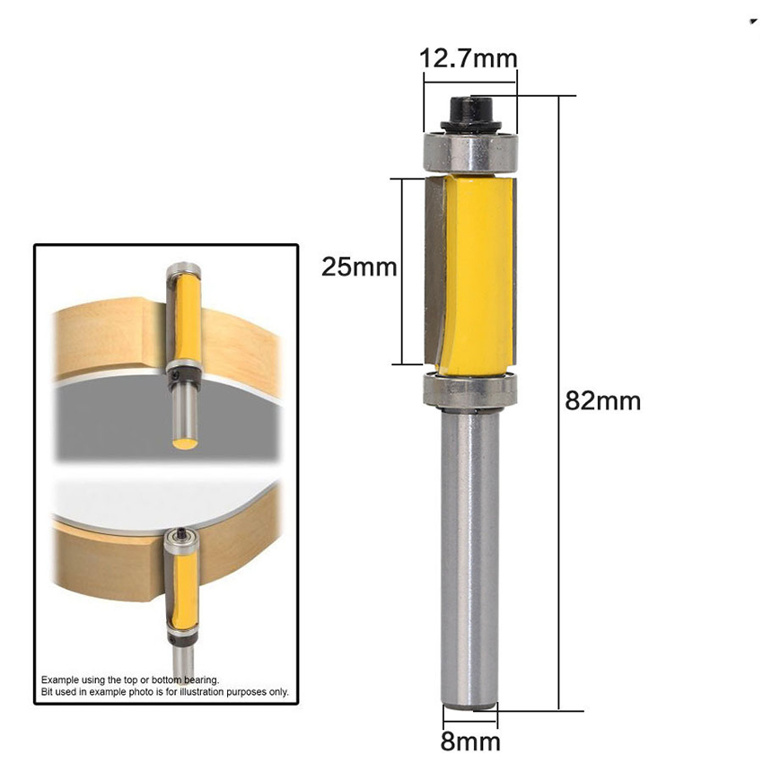 Pattern Flush Trim Top And Bottom Bearing Router Bit 8mm Shank 1/2*25mm, Carbide Trimmer Cutter Woodworking Tool