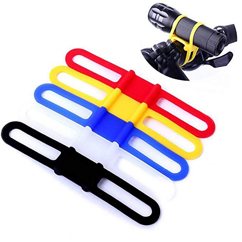 1Pcs Bike Elastic Silicone Strap Bandage Torch Fastening Band Handset Water Bottle Flashlight Outdoor Cycling Tools