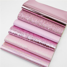 6Pcs 20x22cm DIY Sewing Hair Bow Accessories Material Glitter Fabric Pink Series Synthetic Leather Fabric Shiny Glitter Fabric 6pcs 20x22cm shinny glitter fabric diy sewing patchwork faux leather upholstery fabric hnadicarft diy bow accessories material