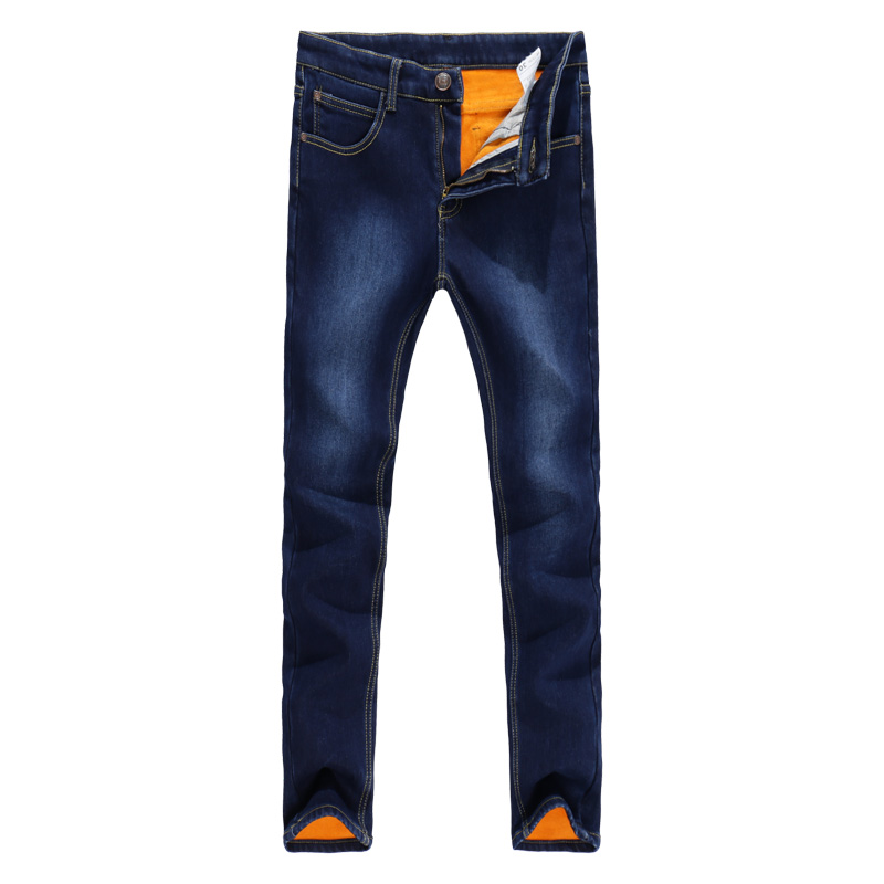 TANGYAXUAN 2019 Thick Men Winter Stretch Jeans Warm Fleece Men's Classice Jeans Quality Male Blue Denim Jean Pants Size 27-36